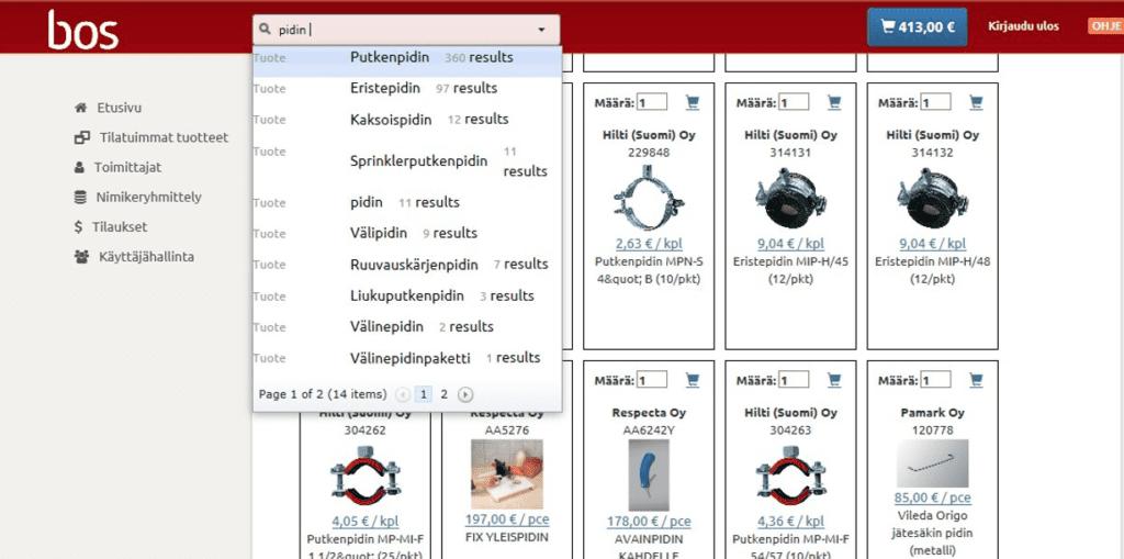 BOS katalogituotteita, joita voi etsiä nimellä hakupalkista näppärästi