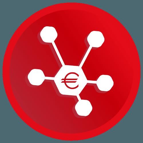 Logo - verkosto punaisella taustalla