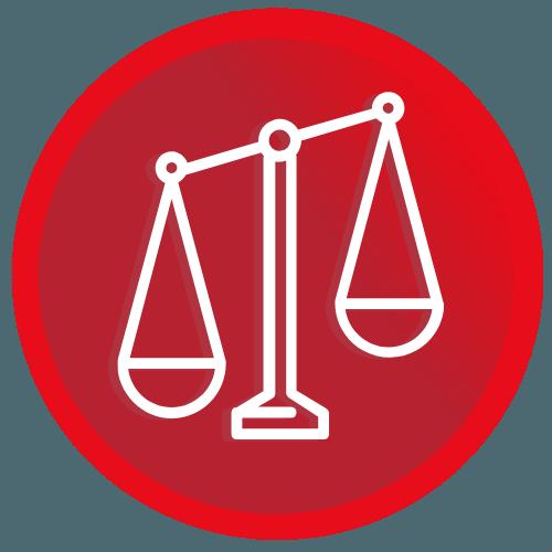 Logo - vaaka punaisella taustalla